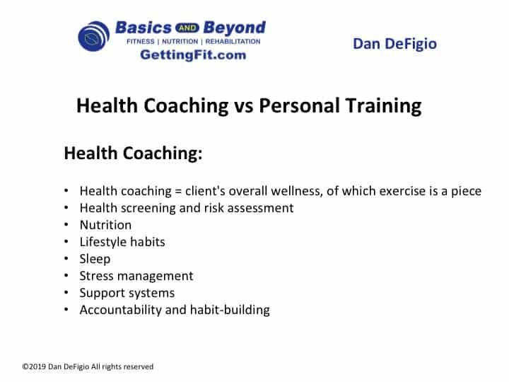 health coaching vs personal training