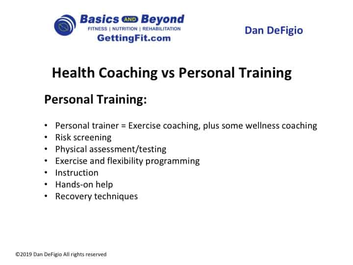 personal trainer vs health coach