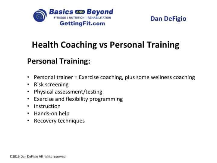 personal trainer vs health coach